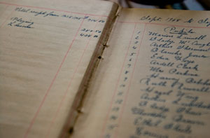 An old ledger details the piano company's finances from 1907 to 1908. (The Daily Progress/Matthew Rosenberg)